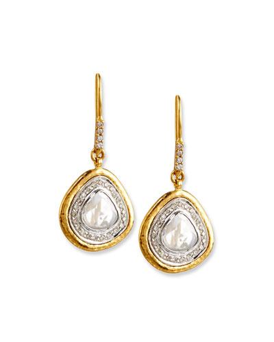 Amorphous Diamond Slice Earrings in 24K Gold