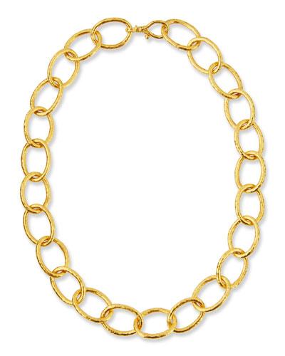 Hoopla 24K Gold Oval Link Necklace, 16