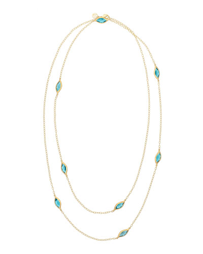 Blue Topaz Two-Strand Leaf Station Necklace, 36