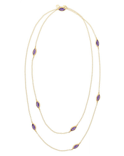 Amethyst Leaf Station Necklace, 36