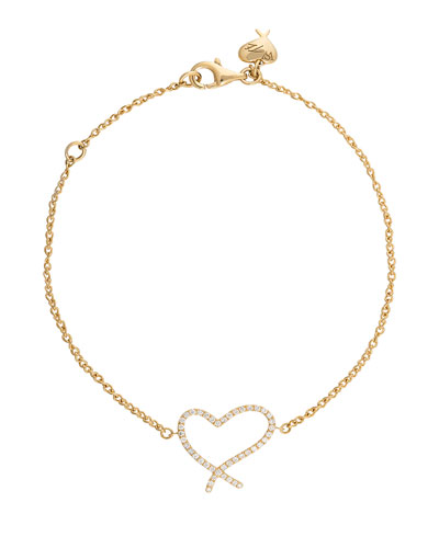 Heart Diamond Chain Bracelet in 18K Yellow Gold