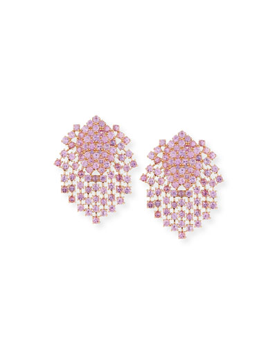 Pink Sapphire Fringe Earrings in 18K Gold