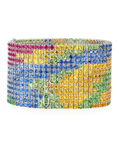 ALEXANDER LAUT Ruby, Tsavorite & Sapphire Abstract Bracelet