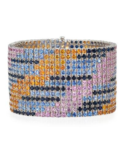 Blue, Pink & Orange Sapphire Bracelet