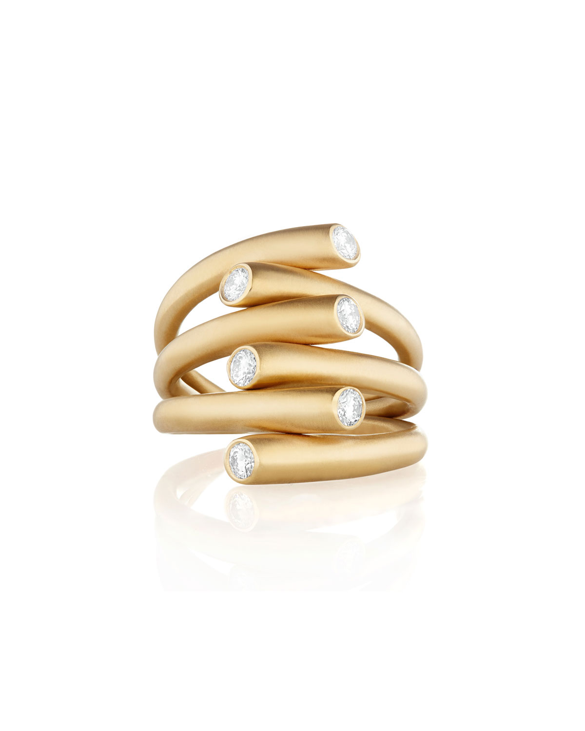 CARELLE 18K MULTI-ROW RING WITH DIAMONDS, SIZE 6.5