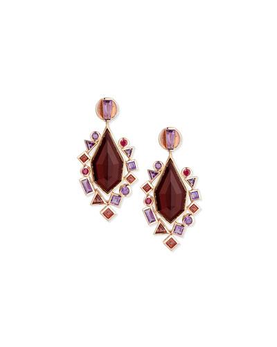 Gold Struck Garnet, Ruby & Amethyst Drop Earrings