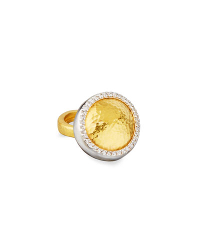 Lentil 24K Gold Ring with Diamonds