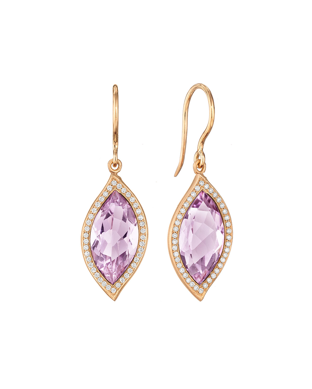 CARELLE 18K Leaf Amethyst Earrings With Diamonds