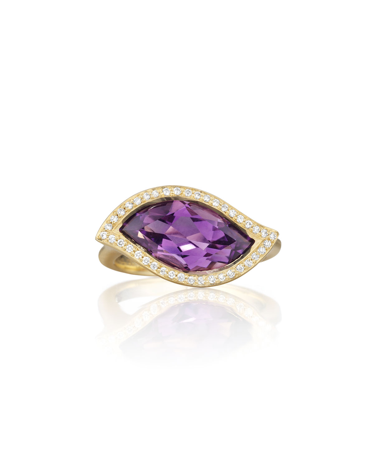 CARELLE 18K AMETHYST LEAF RING WITH DIAMONDS, SIZE 7