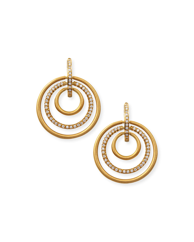 18k Moderne 3-Ring Pave Diamond Earrings