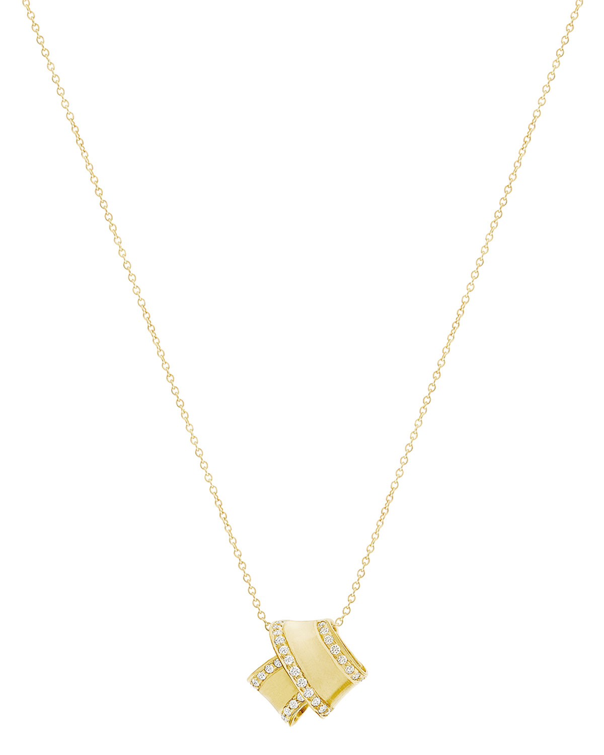 Carelle 18K YELLOW GOLD KNOT PENDANT NECKLACE WITH DIAMONDS