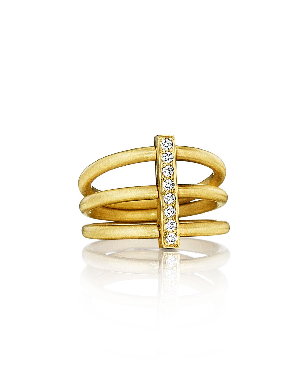 CARELLE Moderne 18K Three-Row Diamond Bar Ring, Size 6.5