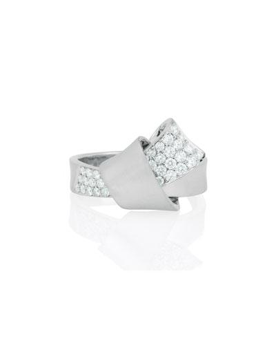 18K White Gold & Pavé Diamond Knot Ring, Size 7