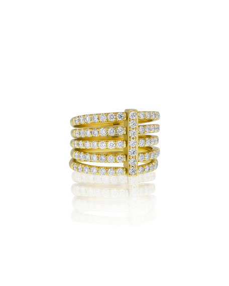 Carelle Moderne 18k Five-Row Diamond Ring, Size 6.5
