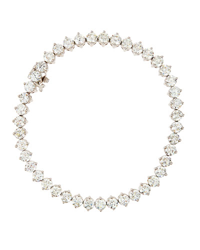 18K White Gold Round Diamond Tennis Bracelet, 10.65ct