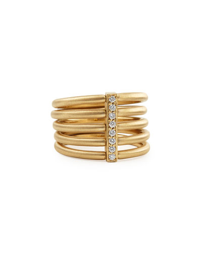 18k Moderne 5-Stack Ring with Pave Diamonds, Size 6.5