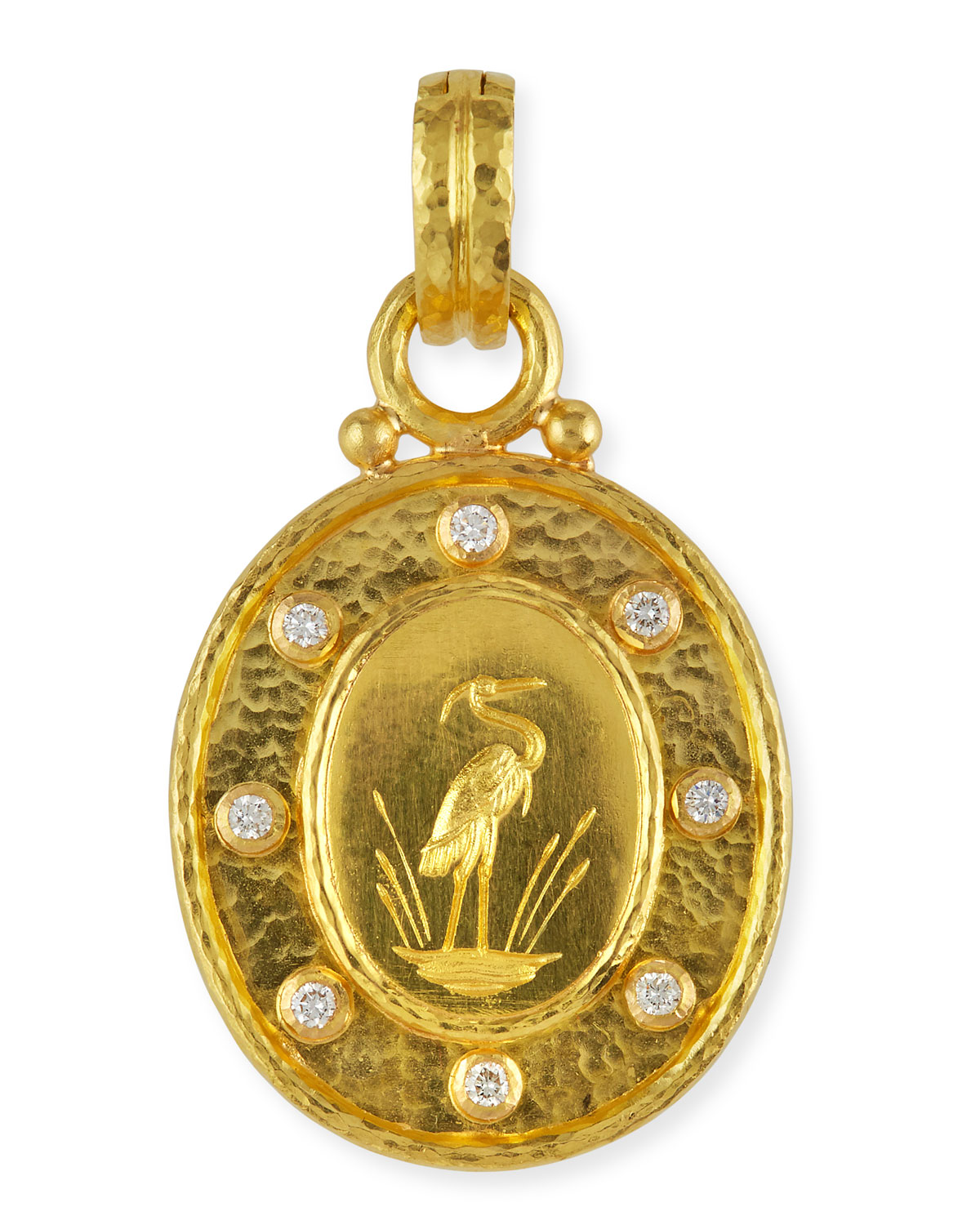 ELIZABETH LOCKE 19K GOLD CRANE PENDANT WITH DIAMONDS