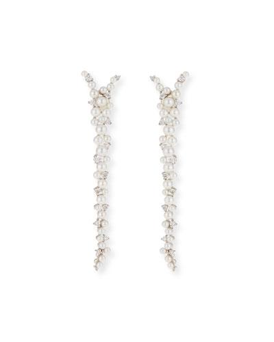 Lagrange 18K Pearl & Diamond Drop Earrings