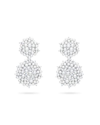 Lagrange 18K Pearl & Diamond Small Double-Dangle Earrings