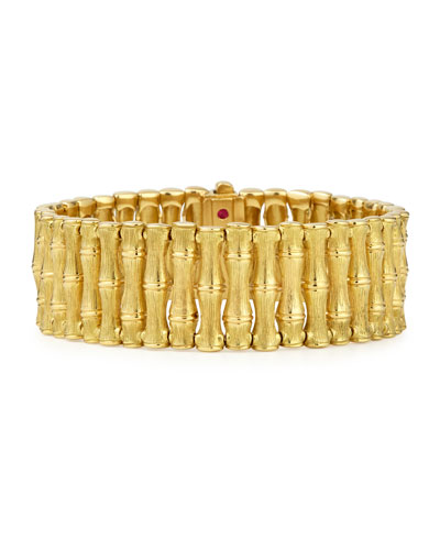 18k Gold Bamboo Bracelet with Diamond Clasp, Medium