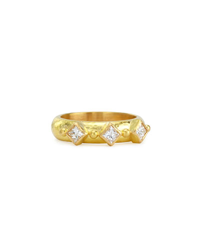 19k Gold & Harlequin Diamond Stack Ring, Size 6.5