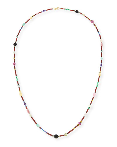 Long Bohemian Mixed-Gem Necklace, Garnet, 54