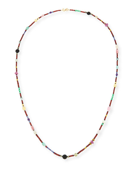 "Splendid Long Bohemian Mixed-Gem Necklace, Garnet, 54""L"
