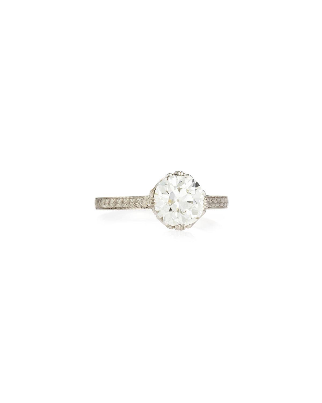 NM ESTATE Estate Edwardian Basket Diamond Solitaire Ring, Size 7.25