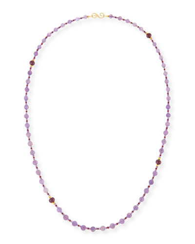Melon-Carved Amethyst & Ruby Necklace