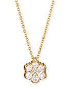 18K Gold & Diamond Floral Pendant Necklace