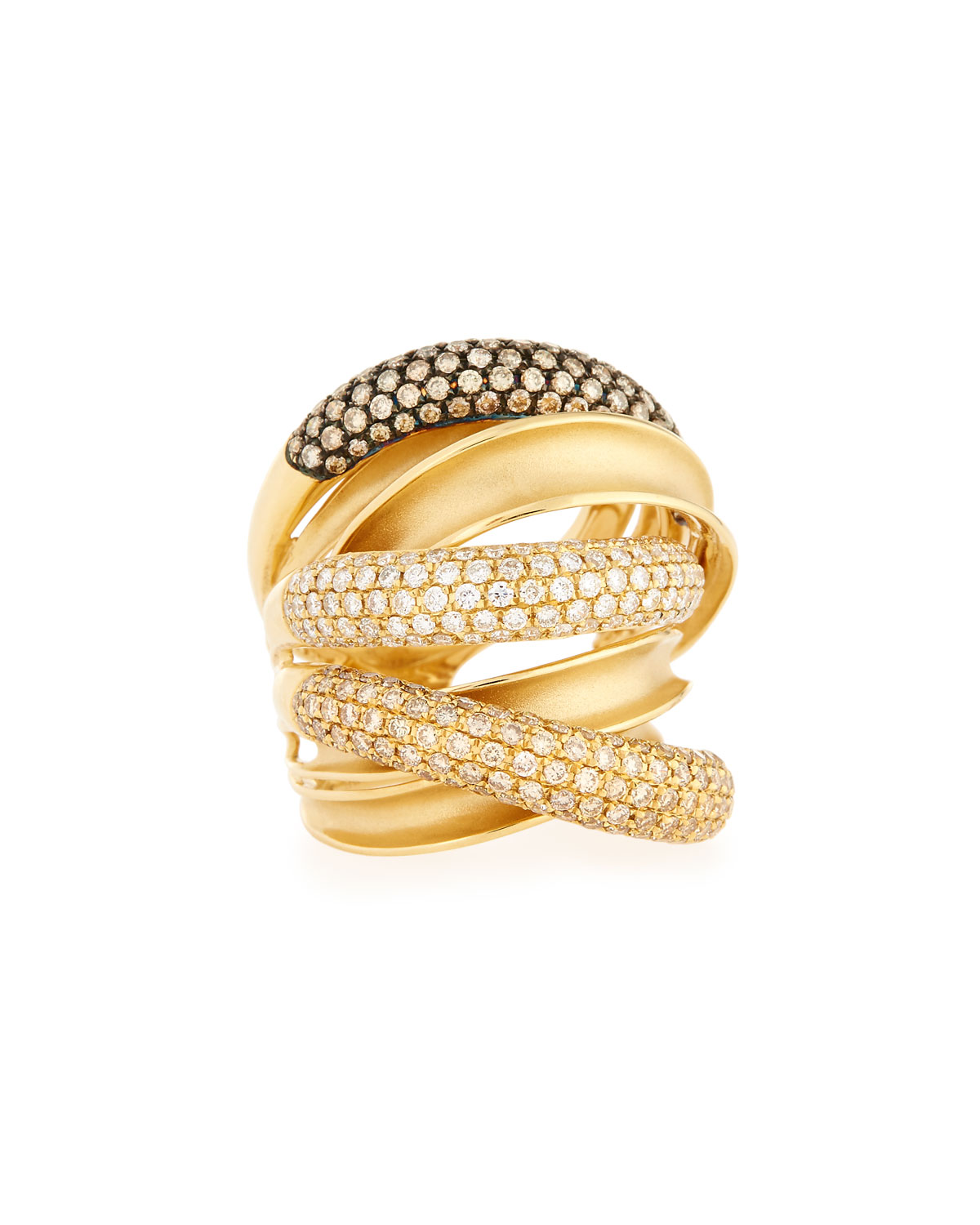 BESSA 18K YELLOW GOLD MULTI-ROW RING WITH CHAMPAGNE AND WHITE DIAMONDS