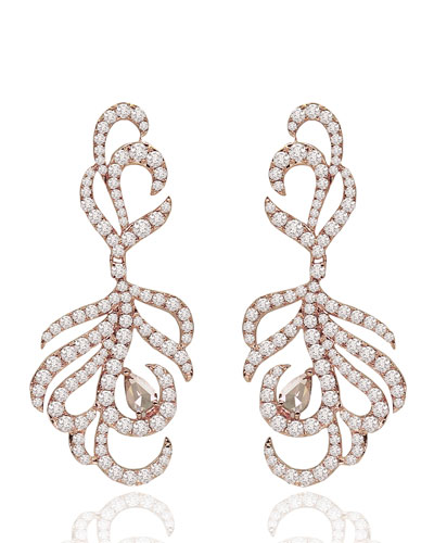 18K Rose Gold & Diamond Drop Earrings