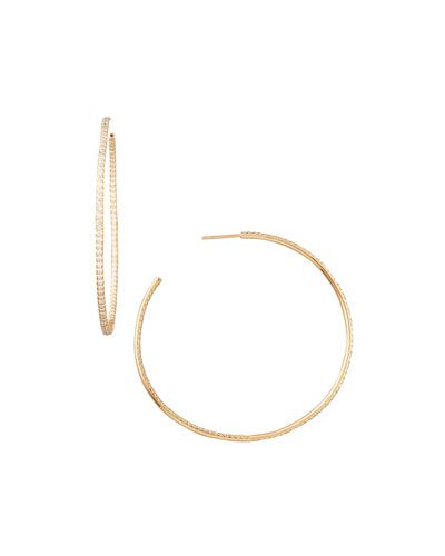 55mm Rose Gold Diamond Hoop Earrings, 2ct