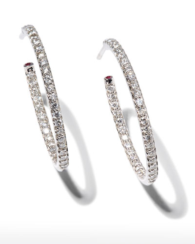 25mm White Gold Diamond Hoop Earrings, 0.8ct