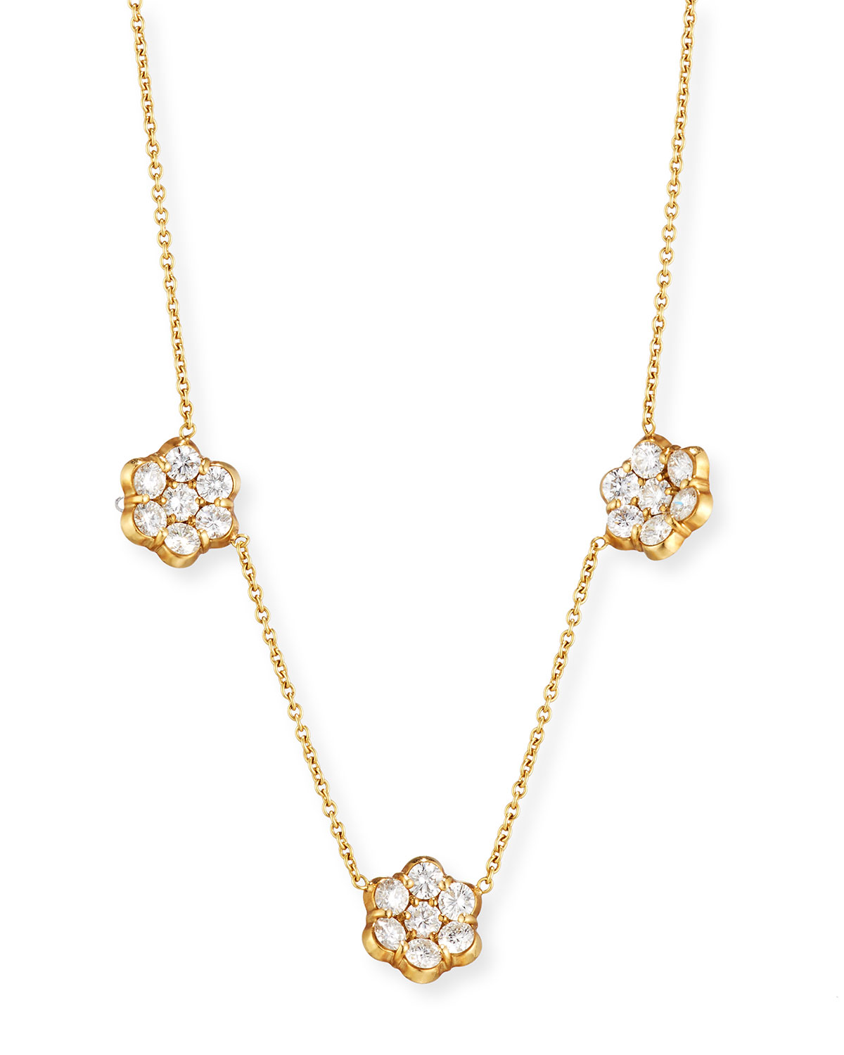 BAYCO 18K Gold & Diamond Floral Station Necklace