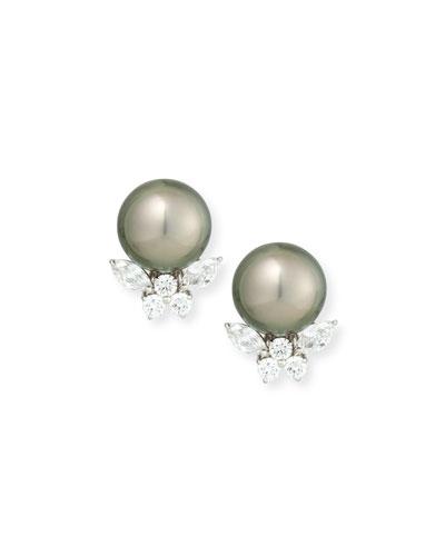 Tahitian Pearl & Diamond Stud Clip Earrings
