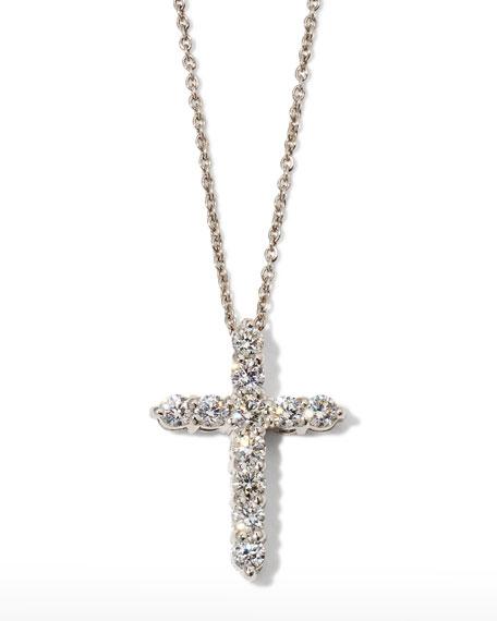"Roberto Coin 18"" White Gold Diamond Cross Pendant Necklace, 0.45ct"