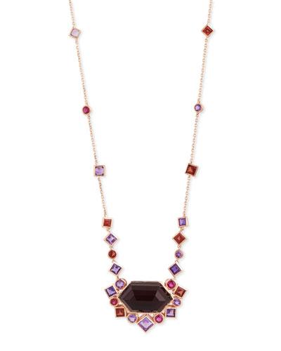Gold Struck Garnet, Ruby & Amethyst Pendant Necklace