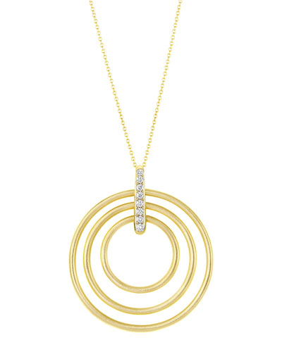Moderne 18k Diamond Circle Pendant Necklace