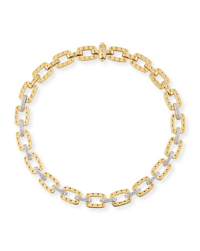 Pois Moi Square Link Bracelet with Diamonds, Yellow Gold