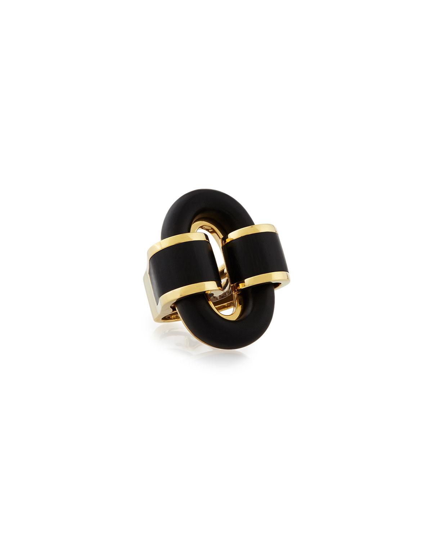18k Gold Ebony Buckle Ring