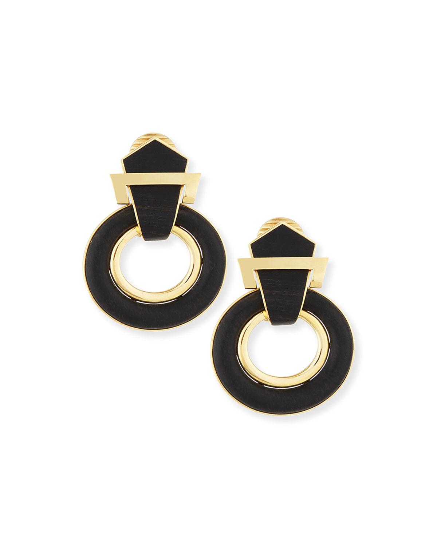 18k Gold Ebony Doorknocker Earrings