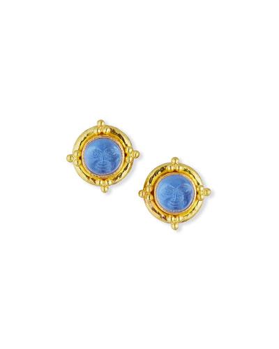 Man-in-the-Moon Intaglio Stud Earrings, Cerulean