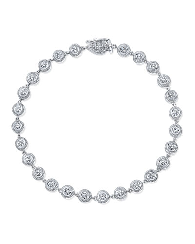 18K White Gold Station Bracelet with Diamond Bezels