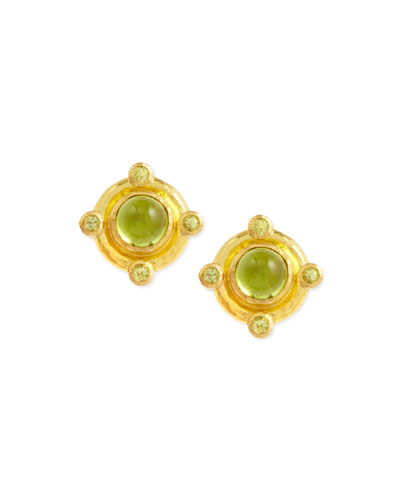 19k Gold Peridot Stud Earrings