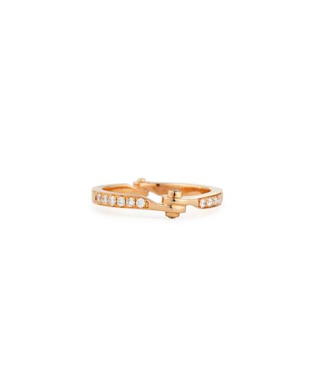 Borgioni 18K Rose Gold Diamond Handcuff Band Ring, Size 7.5