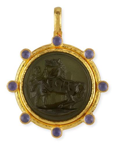 Ancient Horse 19k Gold Intaglio Pendant, Smoke
