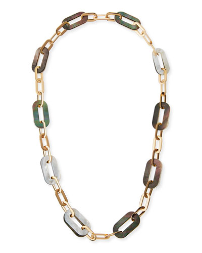 Bisquit 18k Pink Gold White & Grey Mother of Pearl Chain