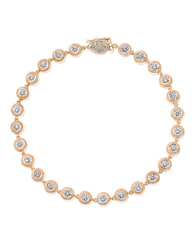 18K Rose Gold Tennis Bracelet with Diamond Bezels