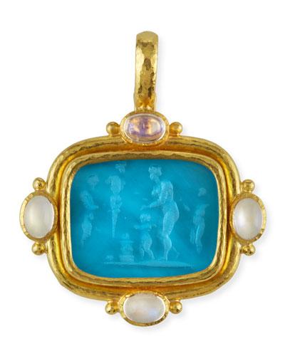 Pan Picnic Antique 19k Gold Intaglio Pendant, Blue